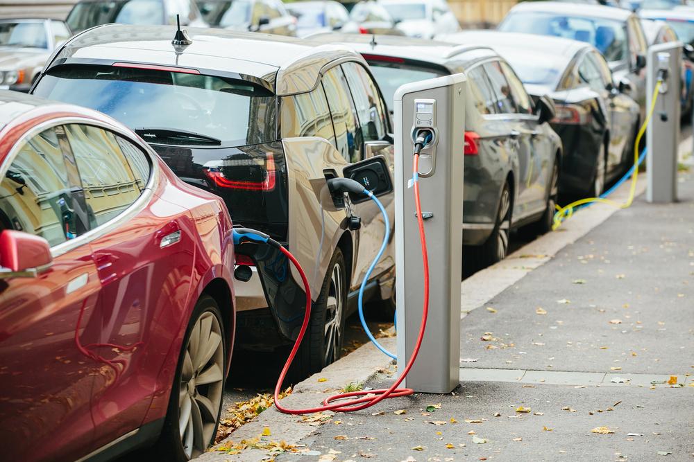 Electric Car Plugin on Street
